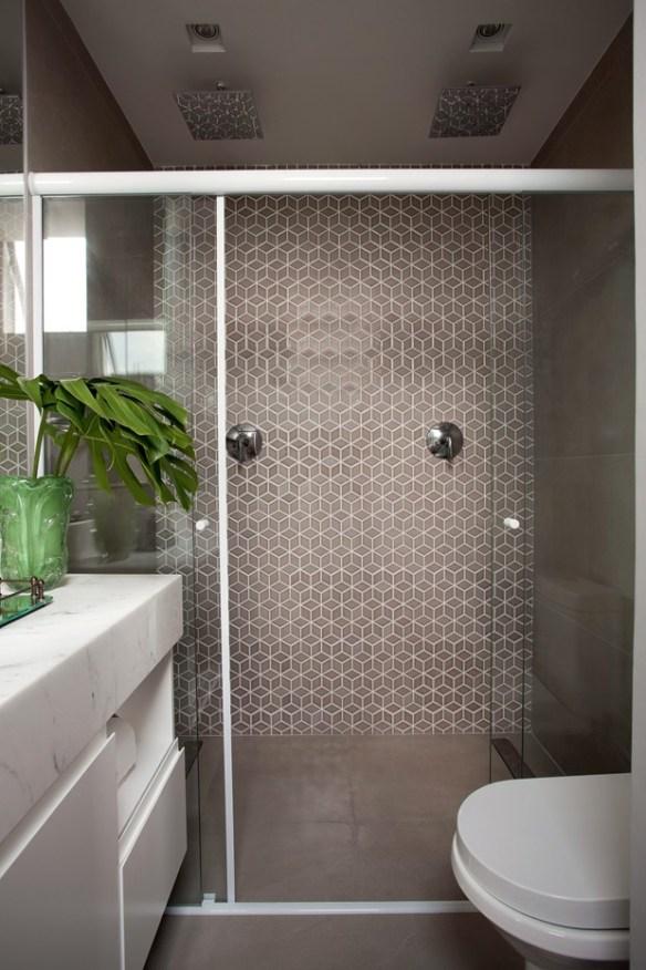 revestimento geometrico banheiro parede chuveiro boxe decoracao neutra elegante 2
