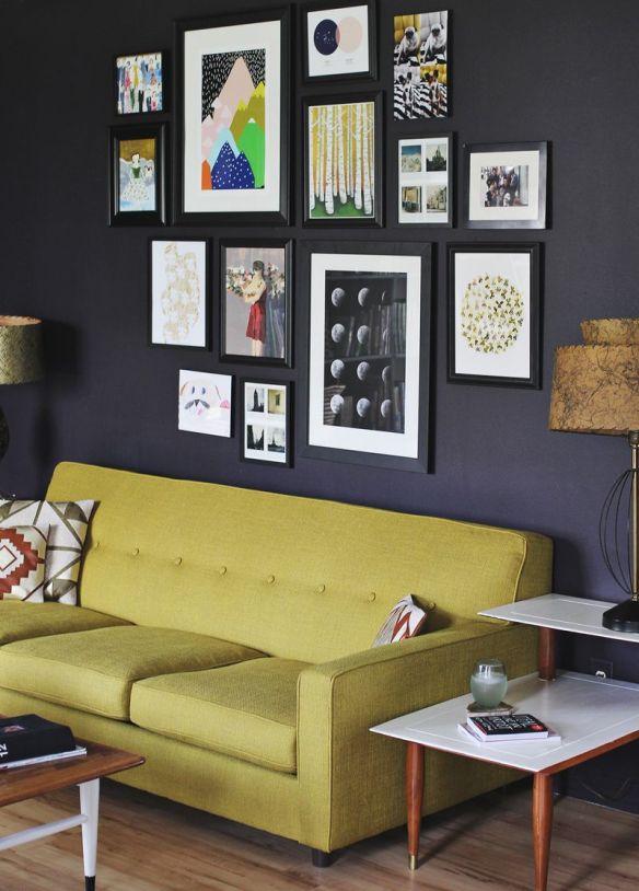molduras cor da parede ideias decoracao composicao quadros parede preta parede escura