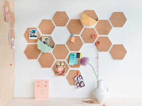o que fazer com cortica decoracao parede formas geometricas mural recados ideias 2