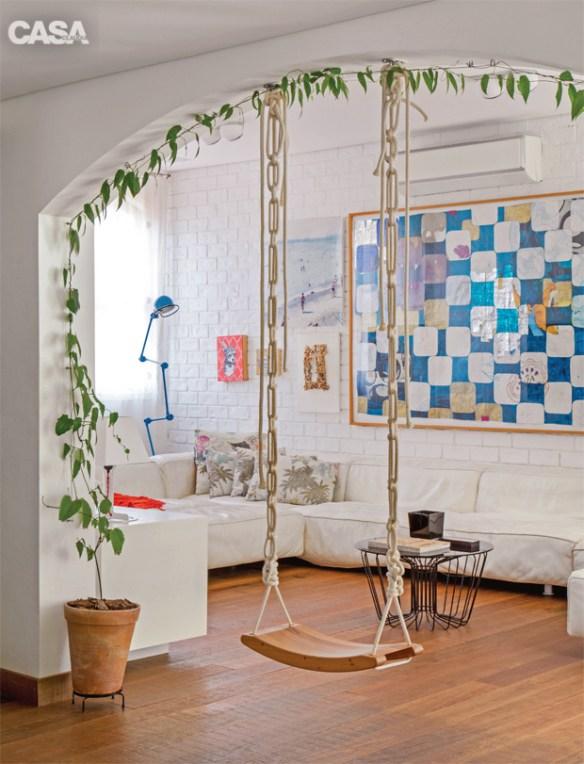 plantas ambientes internos jiboia trepadeira decoracao criativa balanco sala