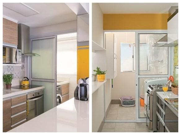 separacao cozinha lavanderia area de servico divisao porta correr aluminio vidro cozinha detalhes amarelos