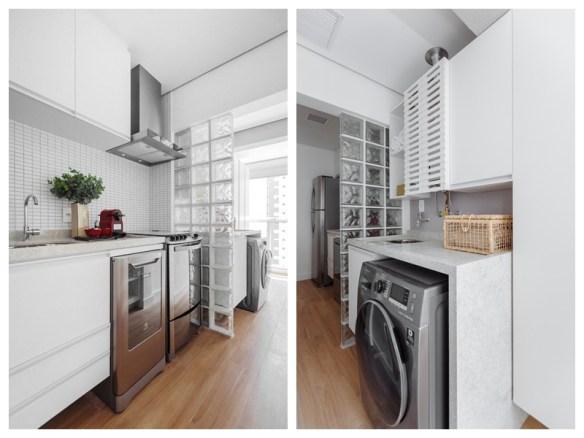 separacao cozinha lavanderia area de servico tijolos blocos de vidro divisoria