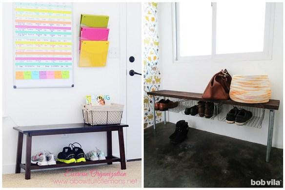como organizar arrumar sapatos porta entrada hall banco tirar sapatos ao entrar em casa