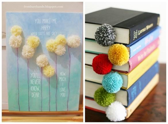 ideias decoracao pompom faca voce mesmo diy marcador de livro quadro