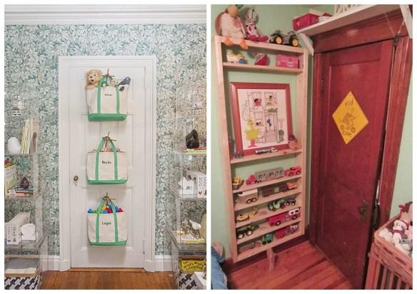 organizacao brinquedos atras da porta ideias quartos pequenos criancas