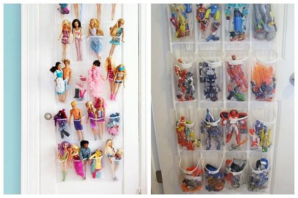 organizacao brinquedos atras da porta organizadores bolsos barbies bonecos