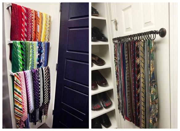 organizacao gravatas atras da porta pequenos espacos