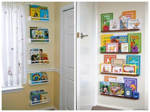 organizacao livros infantis prateleiras atras da porta