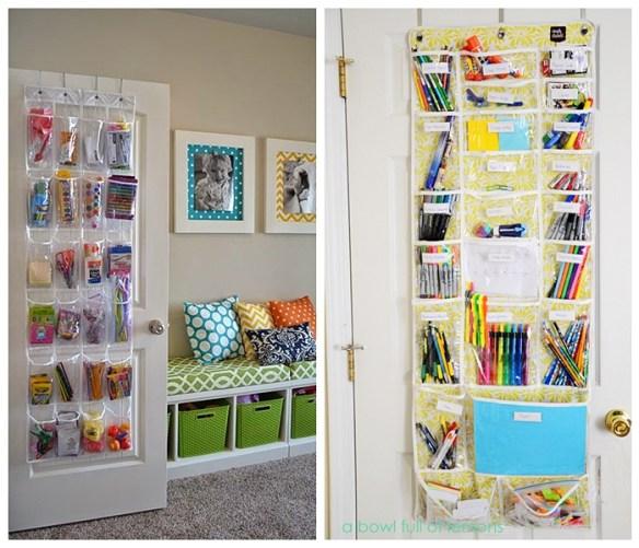 organizar materiais escolares atras da porta ideias pequenos espacos quarto crianca filhos