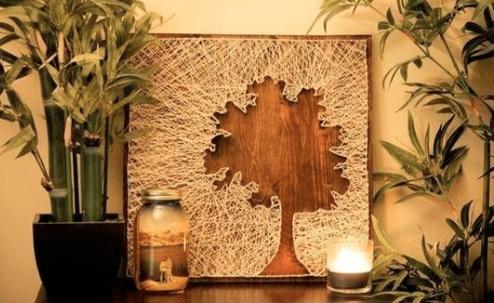 quadro com linha pregos faca voce mesmo diy arvore madeira