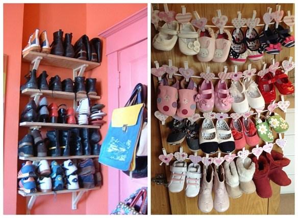 sapateira parede atras da porta ideias pequenos espacos organizacao sapatinhos bebe