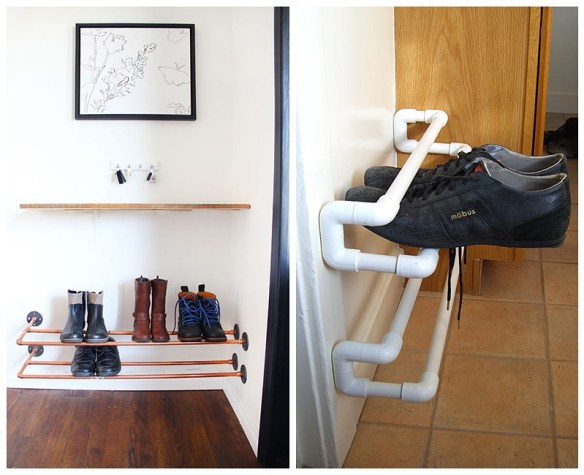 suporte parede sapatos organizacao porta entrada faca voce mesmo diy sapateira suspensa canos