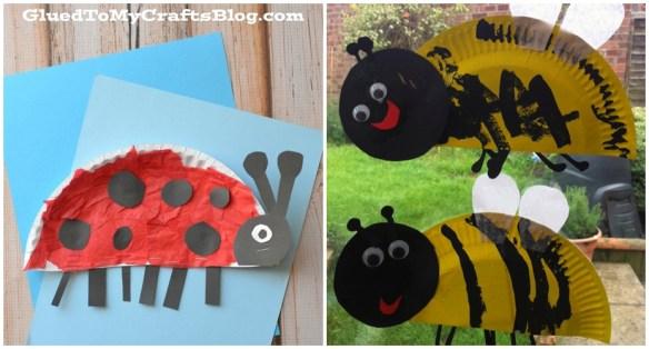 artes manuais criancas atividades pintura ideias faceis baratas prato de papel animais joaninha abelha