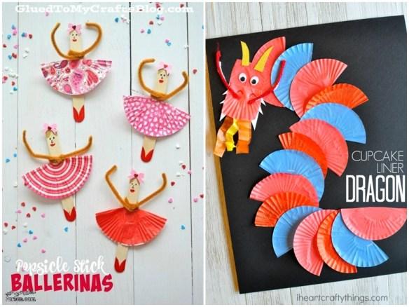 atividades artes criancas forminhas brigadeiro cupcake bailarina dragao