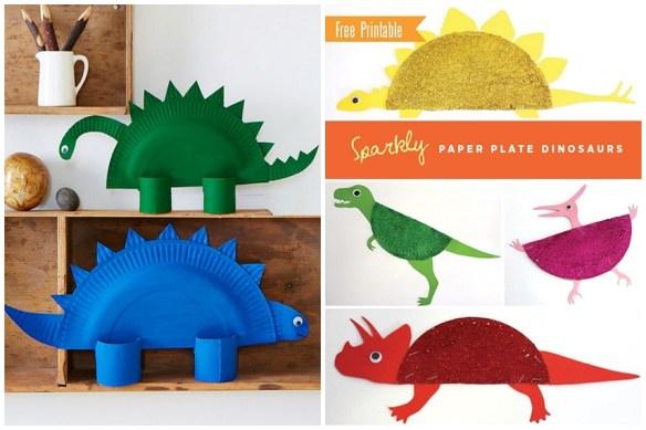 atividades crianças artes prato de papel dinossauros