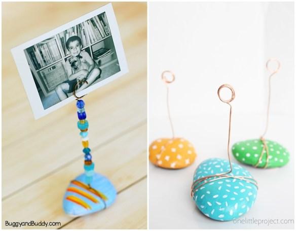 atividades criancas ideias criativas pedras porta foto porta retrato