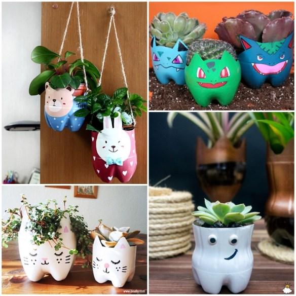 atividades criancas vasos decorados planta garrafa plastica pet ideias divertidas