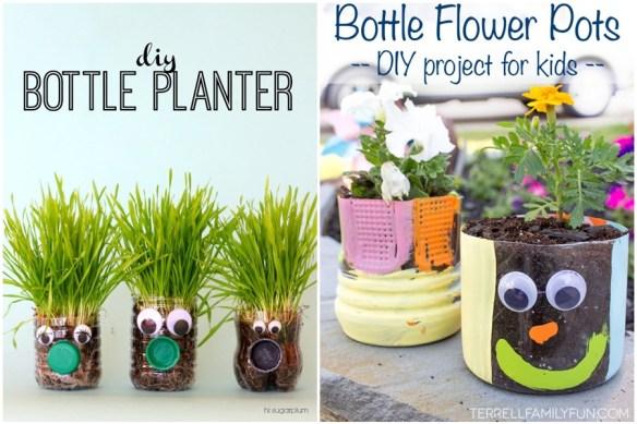 atividades criancas vasos decorados planta garrafa plastico pet ideias divertidas