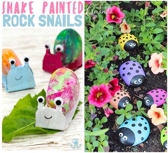 atividades criativas criancas pintura pedras joaninha caracol