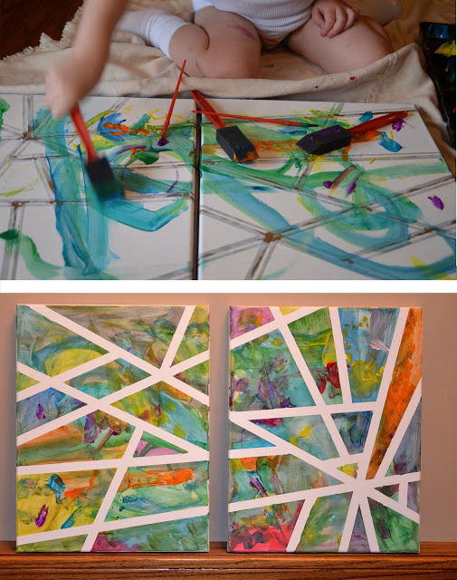 atividades de artes para criancas ideias quadro tela pintura fita adesiva fita crepe 2