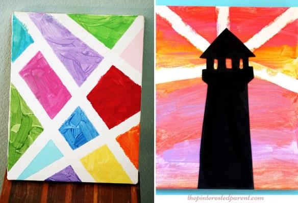 atividades de artes para criancas ideias quadro tela pintura fita adesiva fita crepe