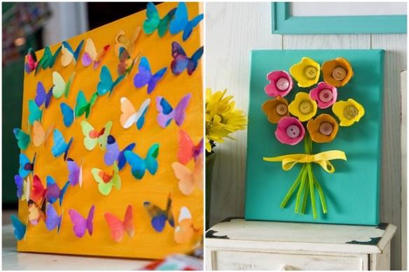 atividades de artes para criancas ideias telas pintura colagem quadro 3d borboletas flores caixa de ovo
