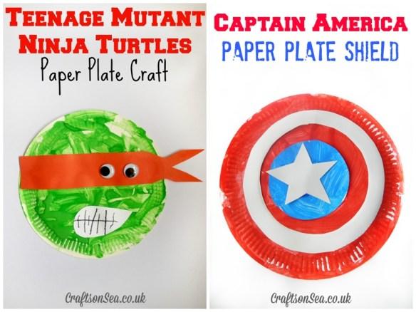 atividades infantis artes pintura crianca ideias baratas prato de papel capitao america tartarugas ninjas