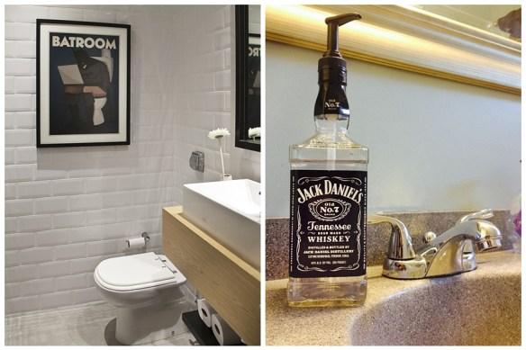 decoracao divertida banheiro quadro porta sabonete liquido jack daniels
