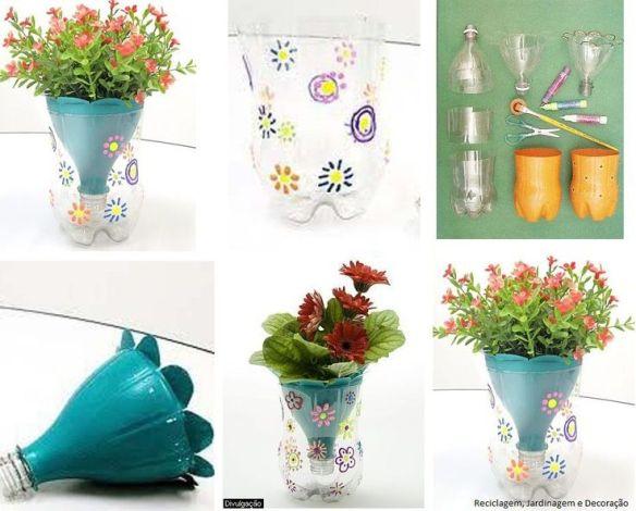 ideias atividades criancas plantas vaso decoracao garrafa pet vaso anti dengue faca voce mesmo DIY