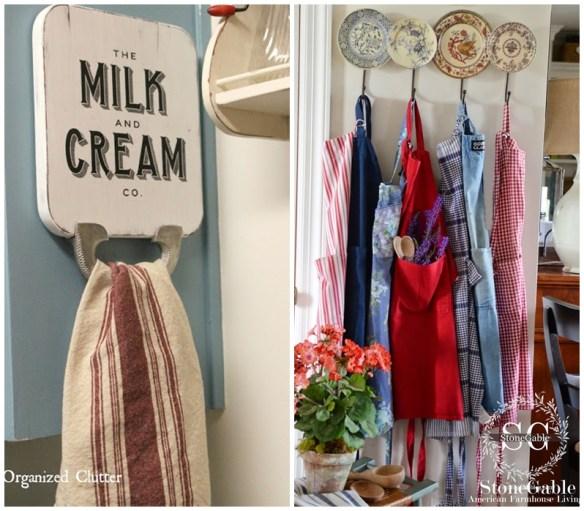 ideias para decorar a cozinha suporte avental tabua de corte pratos