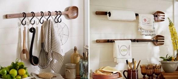 ideias para decorar a cozinha suporte panos de prato utensilios