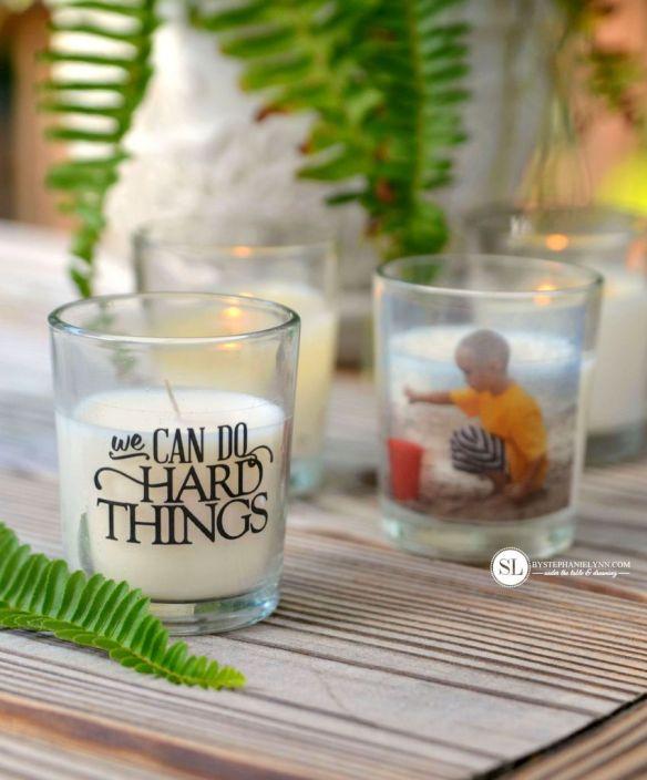 porta velas decorado com foto faca voce mesmo diy transferencia foto imagem em vidro