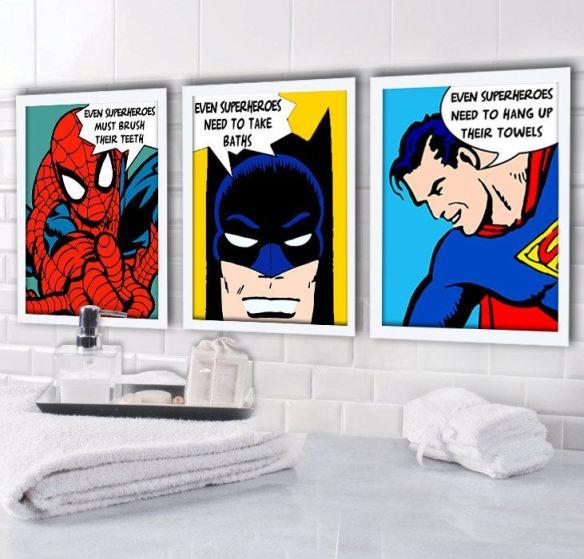quadrinhos super herois decoracao infantil banheiro 2