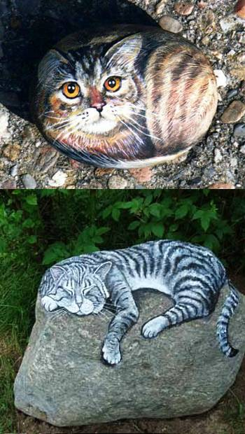 pintura pedra gatos decoraçao