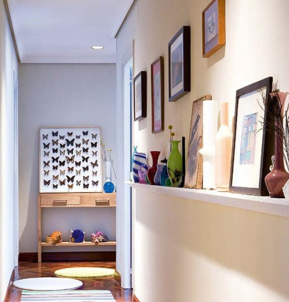 prateleira rasa corredor decoracao