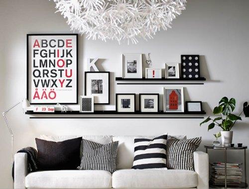 prateleiras-rasas sala quadros decoraçao