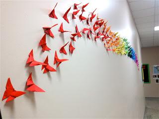 borboletas origami parede decoraçao 1