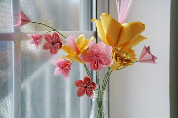 origami-flores de papel arranjos