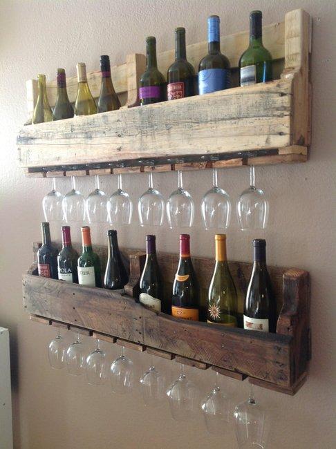 suporte vinhos porta vinhos taças parede pallet