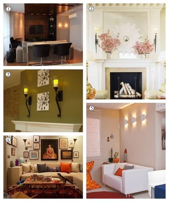 arandelas salas de estar sala de jantar lareira