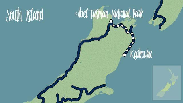 mapa ruta nueva zelanda road trip