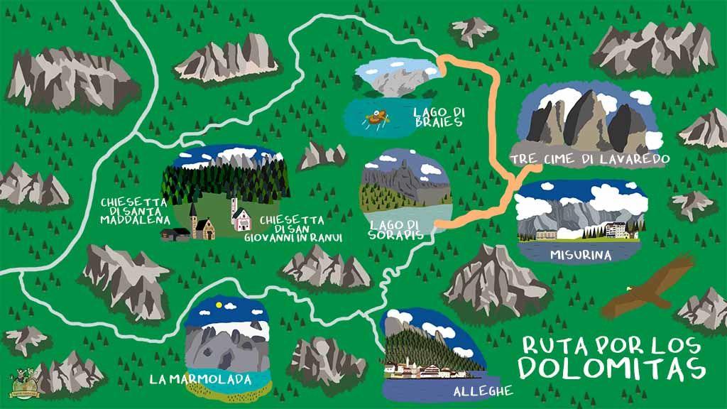 mapa dolomitas