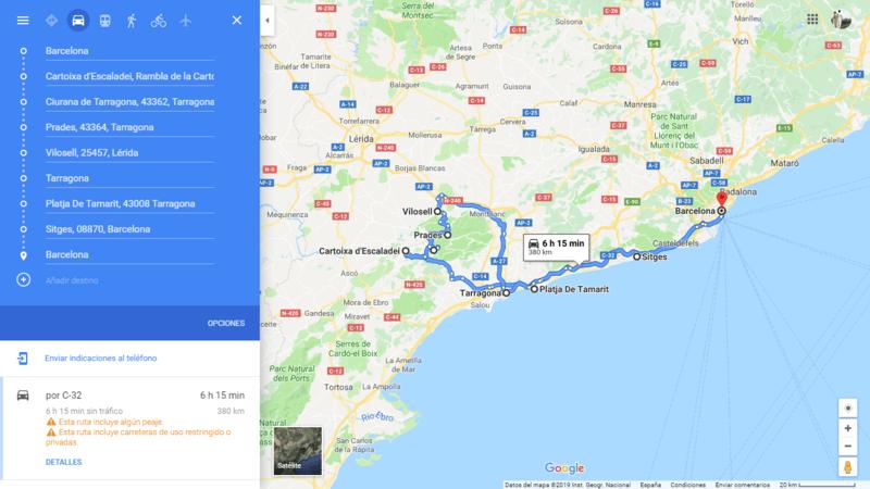 ruta 08 Barcelona coche viajando por un sueño