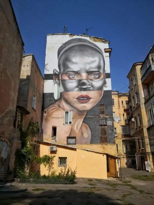 Mural de retrato en Odesa
