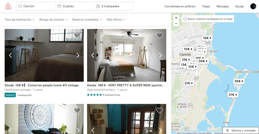 Página de ciudad de Airbnb