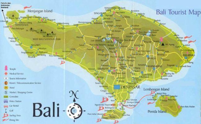 Mapa turístico de Bali