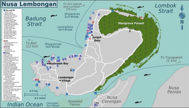 Mapa Turistico Nusa Lembongan