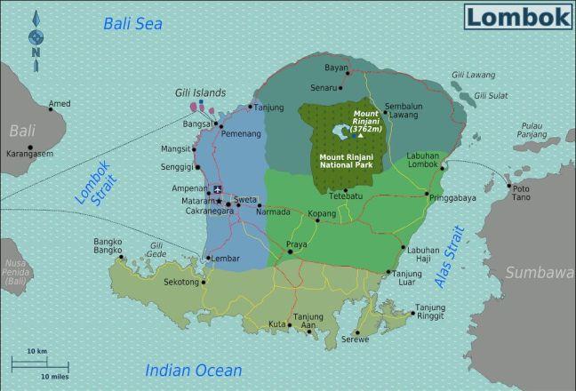 Mapa Regiones de Lombok