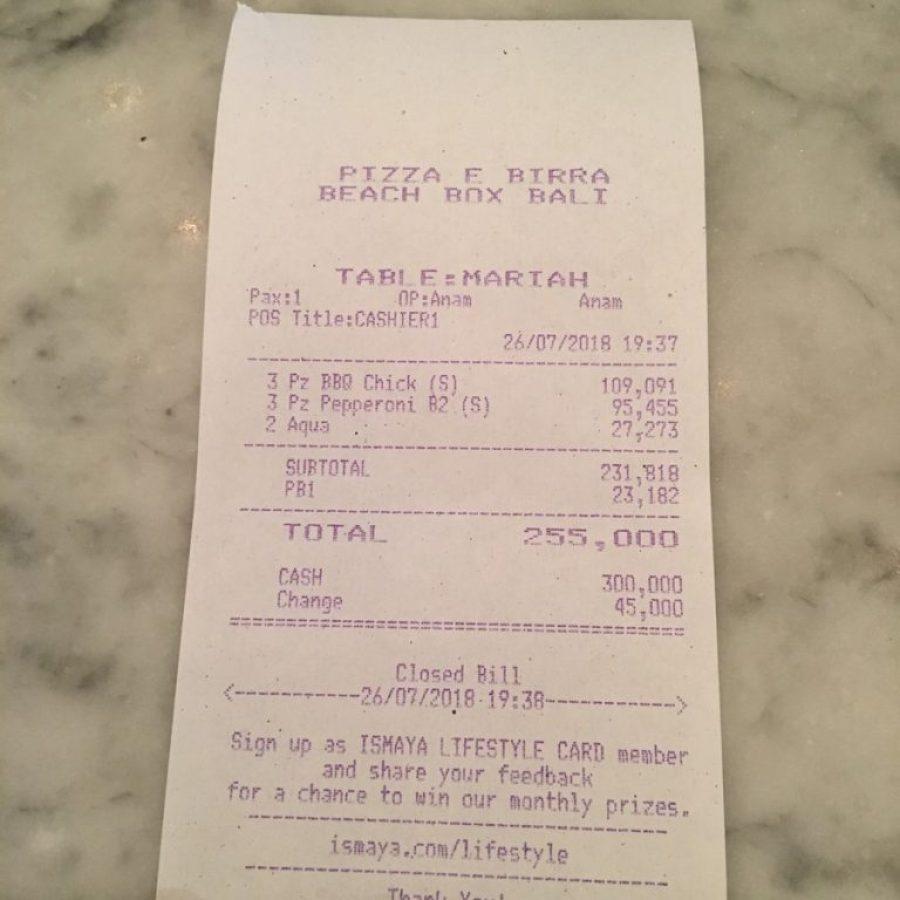 La cuenta del Pizza e Birra de Kuta