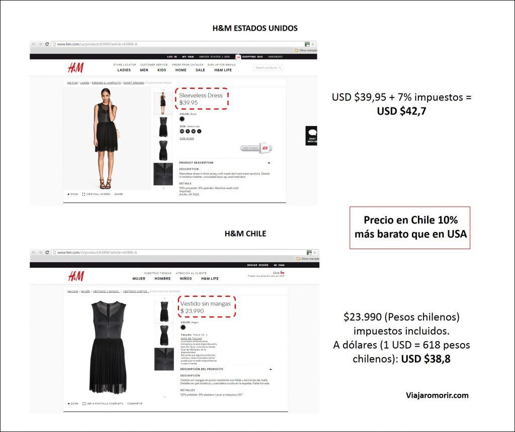 H&M Chile vestido sin mangas